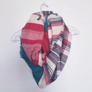 Nordstrom BP Plaid Colorful Infinity Scarf